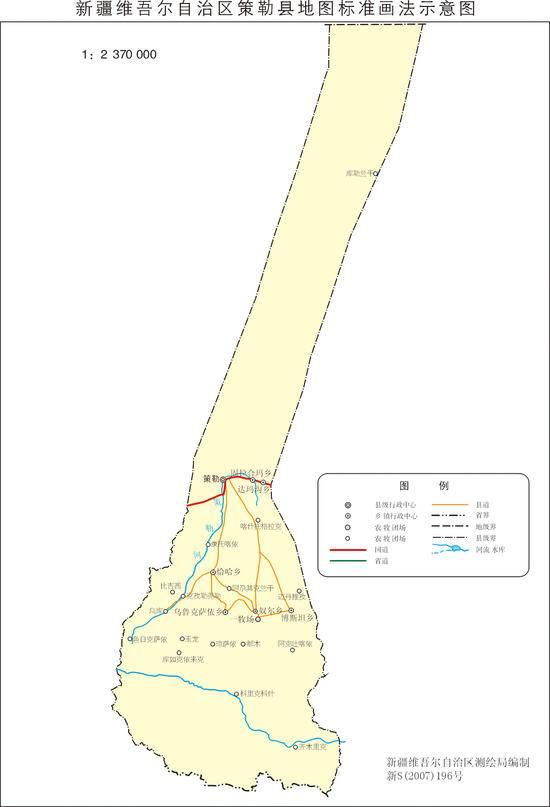 新疆策勒县地图