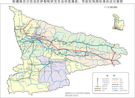 新疆伊犁州直辖县市地图
